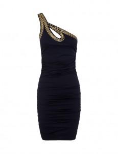 vestido negro asimétrico paillettes de BLANCO